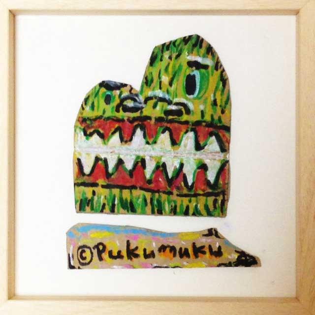 pukumuku/プクムクが段ボールに描く「怪獣」額装