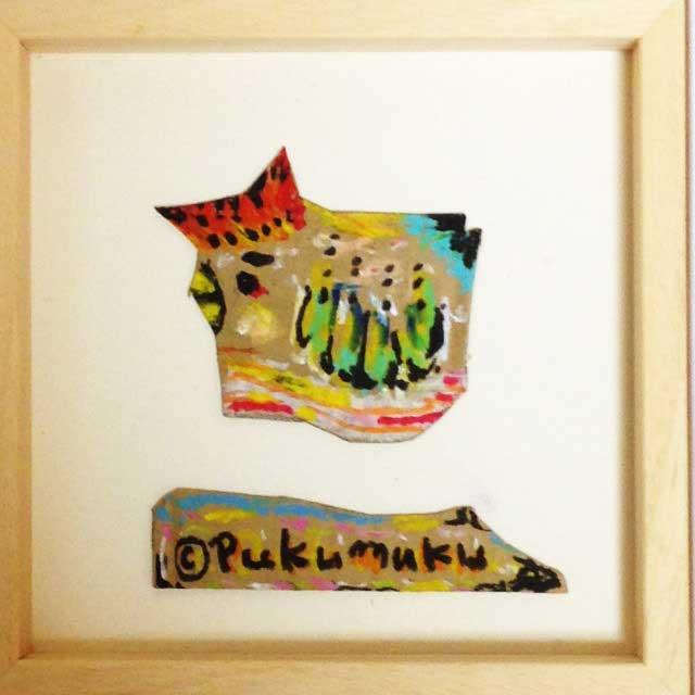 pukumuku/プクムクが段ボールに描く「にわとり」額装