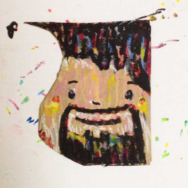 pukumuku/プクムクが段ボールに描く「おじさん」
