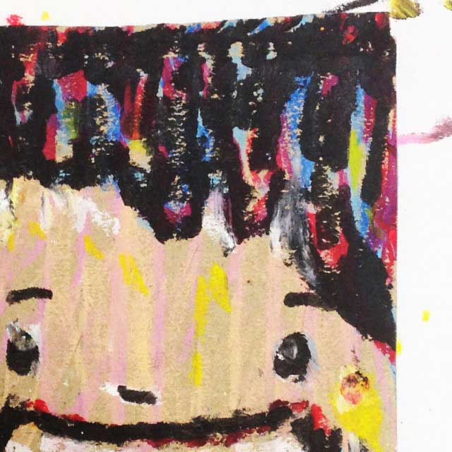 pukumuku/プクムクが段ボールに描く「おじさん」アップ