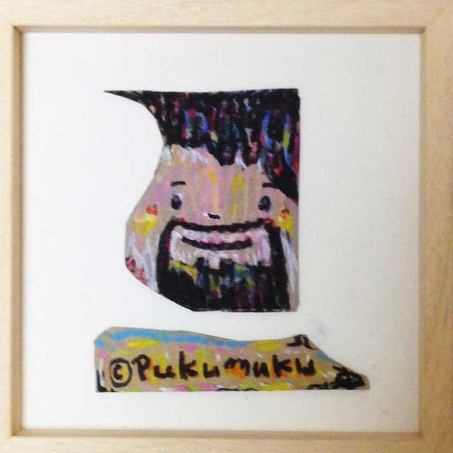 pukumuku/プクムクが段ボールに描く「おじさん」額装