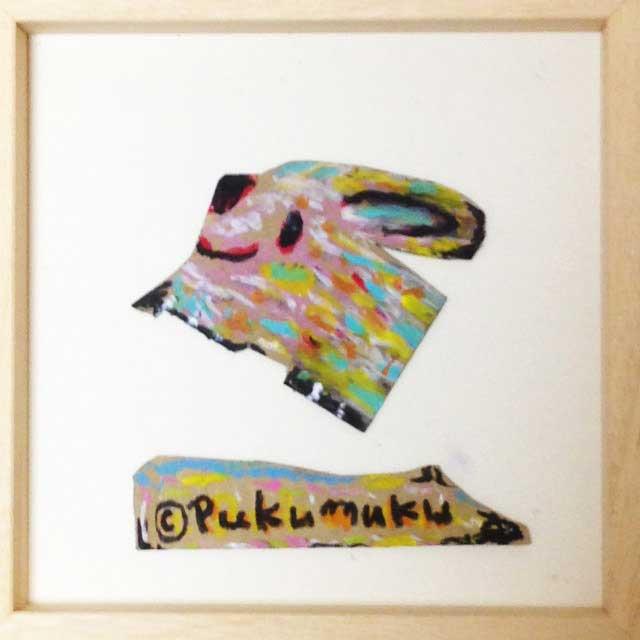 pukumuku/プクムクが段ボールに描く「うさぎ」額装
