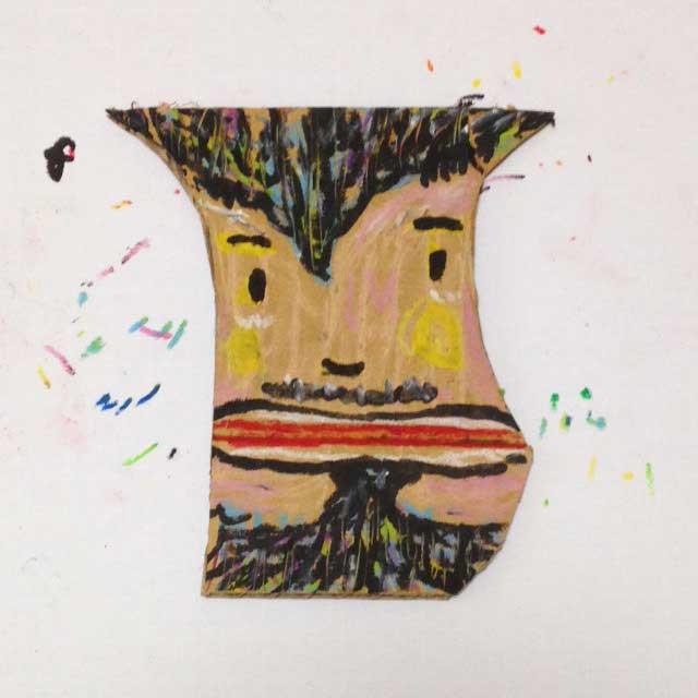ダンボールにひげのおじさんを描く。完成イラスト