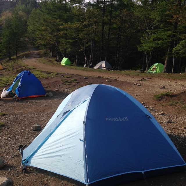 雲取山の登山写真「キャンプ場の夕方」