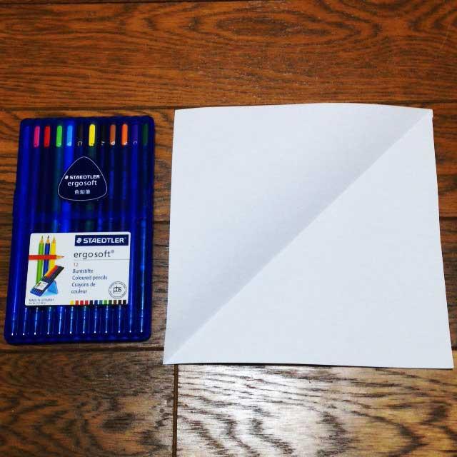 フライドポテトとイラスト「折り方1と色鉛筆」