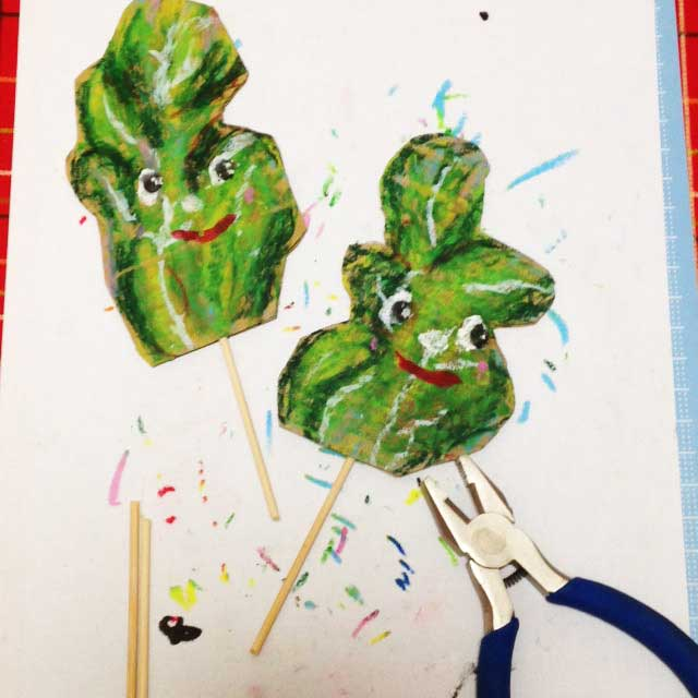 ルッコラ栽培とイラスト「竹串をイラストに刺す」