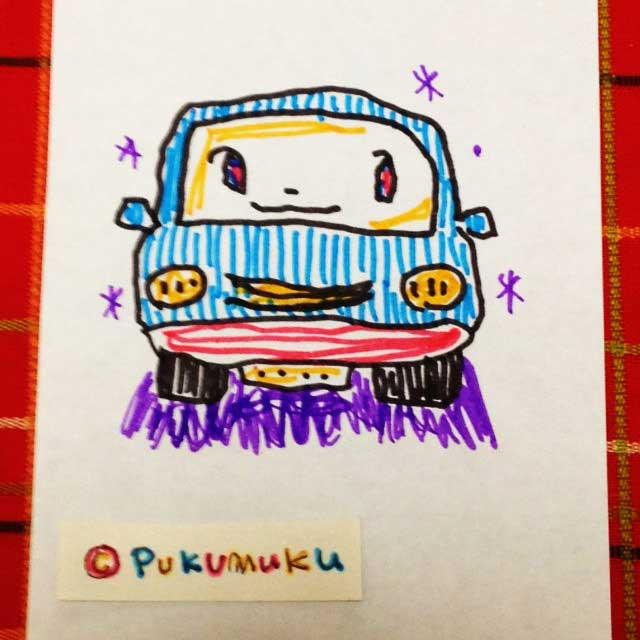 メモ帳落書きイラスト「自動車、くるま」
