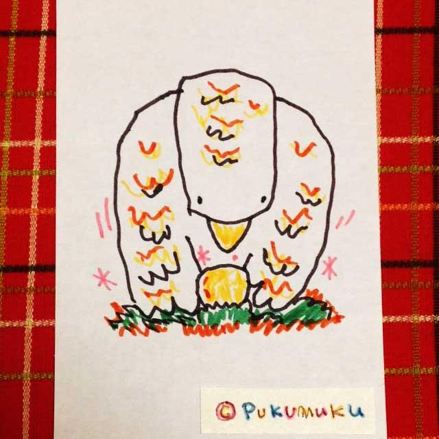 メモ帳落書きイラスト「卵を温めるトリ」
