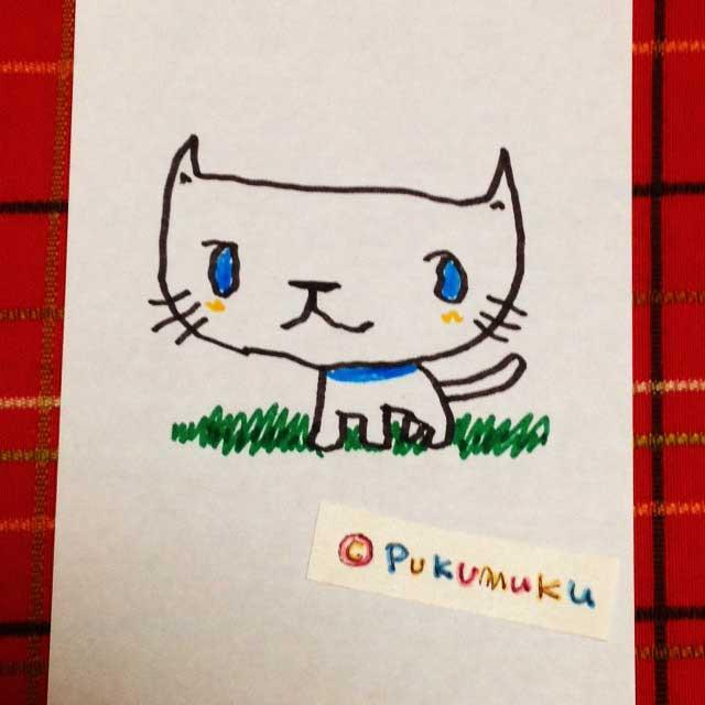 メモ帳落書きイラスト「白猫」