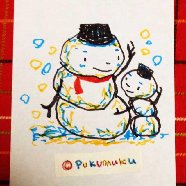 メモ帳落書きイラスト「雪だるま」