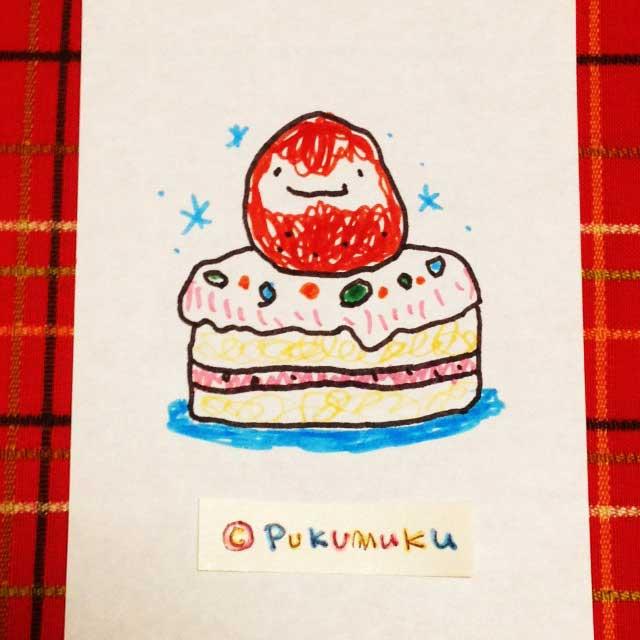 メモ帳落書きイラスト「イチゴのショートケーキ」