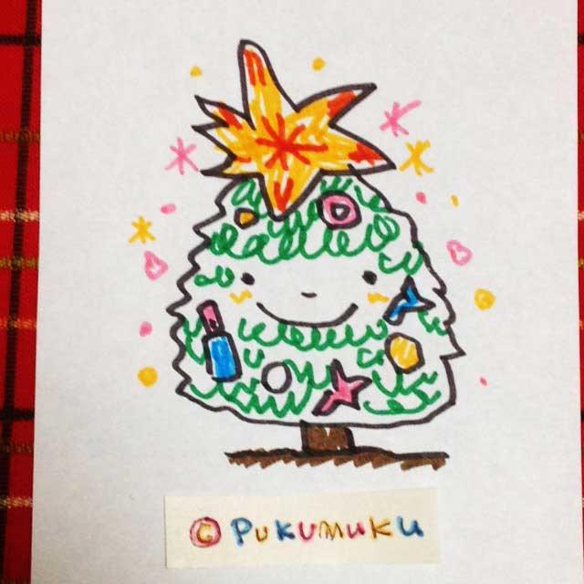 メモ帳落書きイラスト「クリスマスツリー」