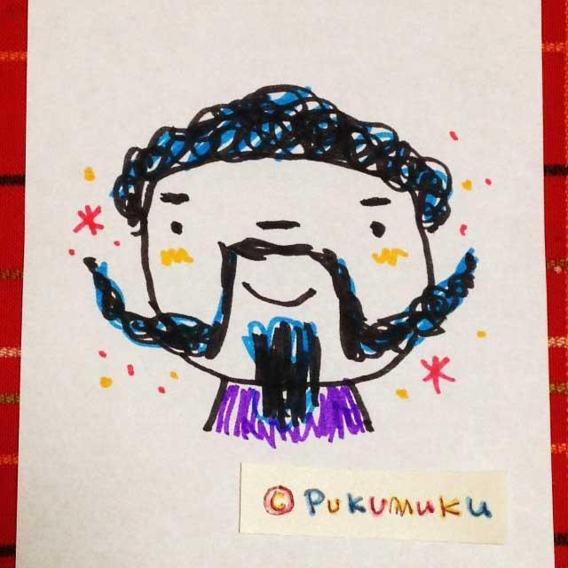 メモ帳落書きイラスト「ひげのおじさん」