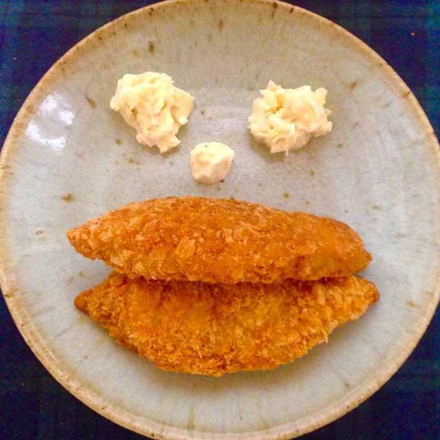 かおごはん「白身魚フライ、ポテトサラダ」