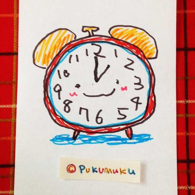 メモ帳落書きイラスト「目覚まし時計」