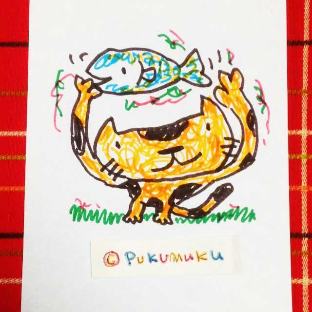 メモ帳落書きイラスト「猫と魚」