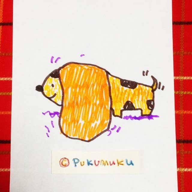 メモ帳落書きイラスト「耳の大きい犬」