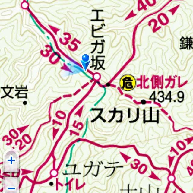 ユガテ、顔振峠、越上山を歩く「マップ」