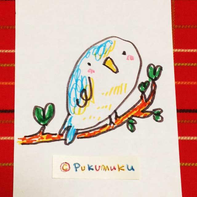 メモ帳落書きイラスト「青い鳥」