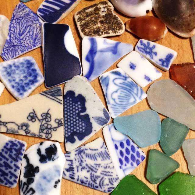 鋸山と日本寺「シーグラスとシー陶器と貝殻」