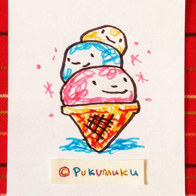 メモ帳落書きイラスト「アイスクリーム3だん」