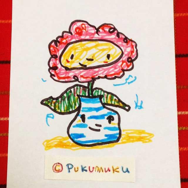 メモ帳落書きイラスト「花と花瓶」