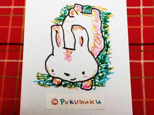 メモ帳落書きイラスト「ゴロンとウサギ」