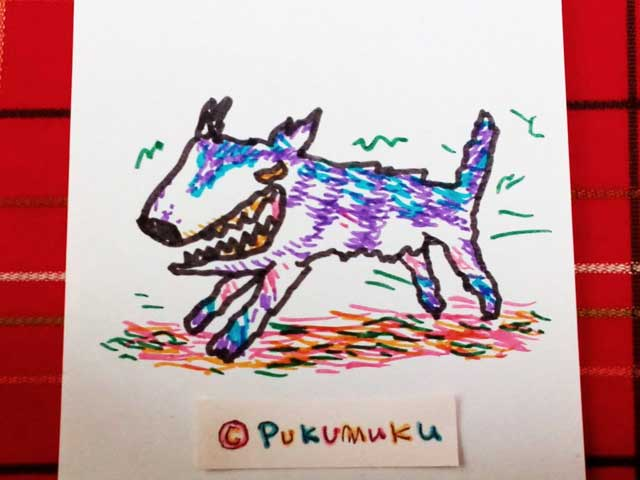 メモ帳落書きイラスト「はしるオオカミ」
