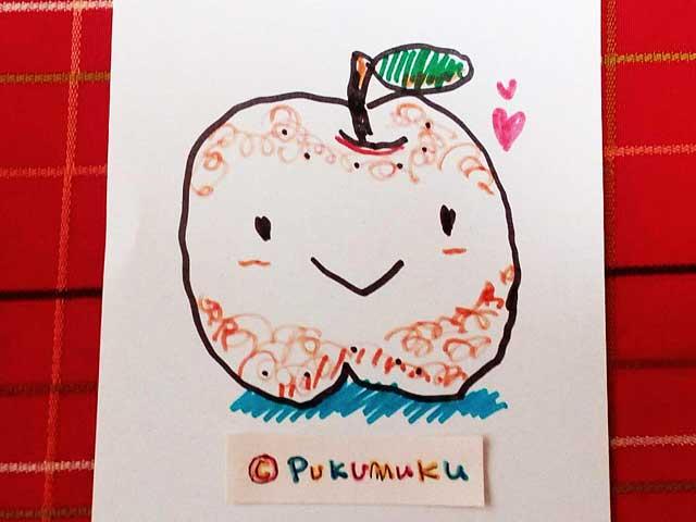 メモ帳落書きイラスト「にこにこりんご」