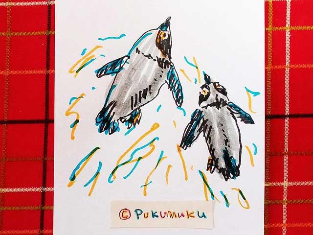 メモ帳落書きイラスト「およぐペンギン」