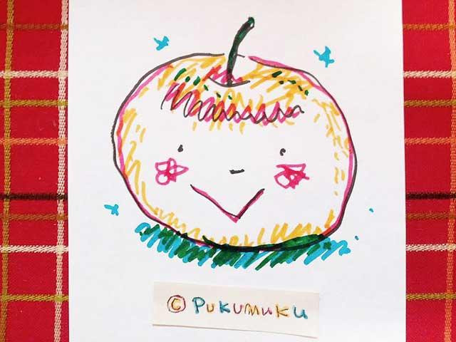 メモ帳落書きイラスト「ニコリンゴ」